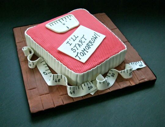 Weighing scales cake