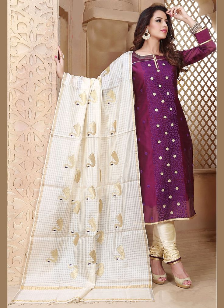 Hypnotic Chanderi Churidar Designer Suit
