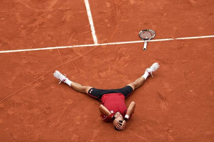 Serbia's Novak Djokovic reacts after winning the men's final of the French Open