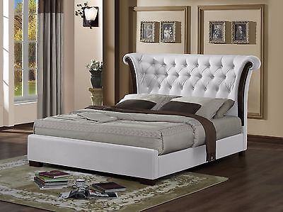 Luxurious Chesterfield Faux Leather Bed Frame- Black/White -4ft6 Double/5ft King