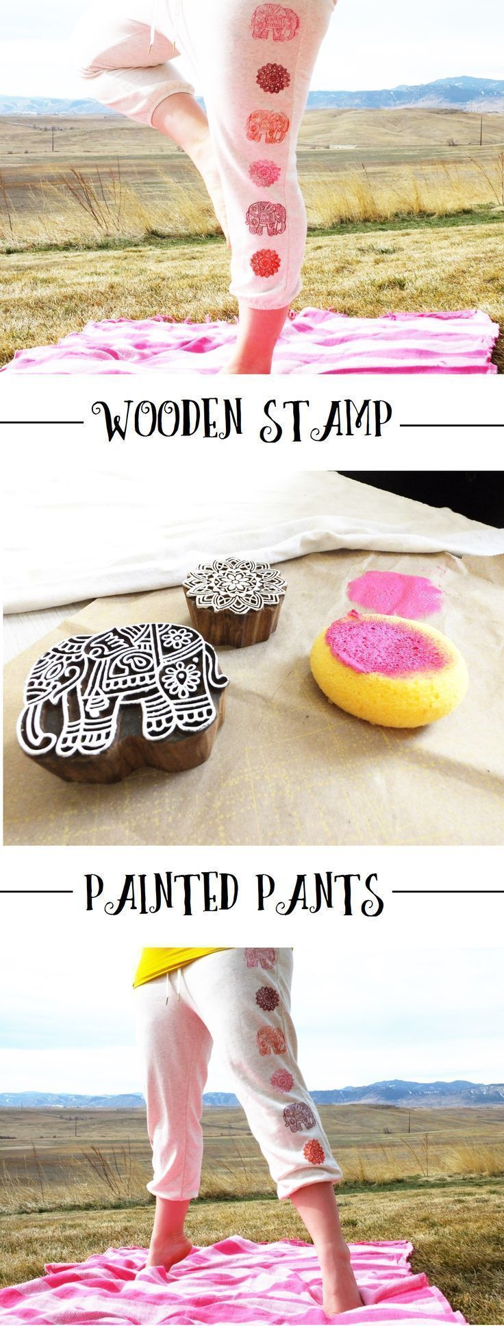 DIY: Wooden Stamp Painted Pants || http://theviewfromhere.is