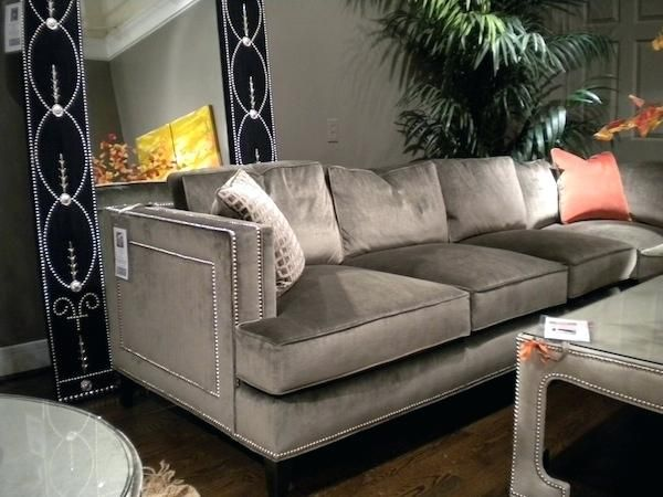 Gray Velvet Sofa With Nailheads Family Room Furniture Layout