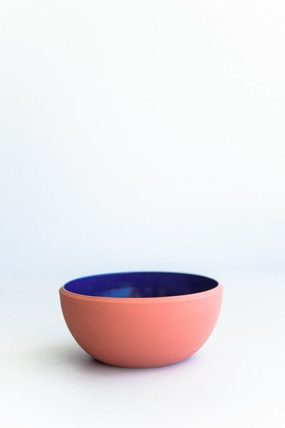 COLOURED SANDS LARGE SALAD BOWL - CORAL/ROYAL BLUE