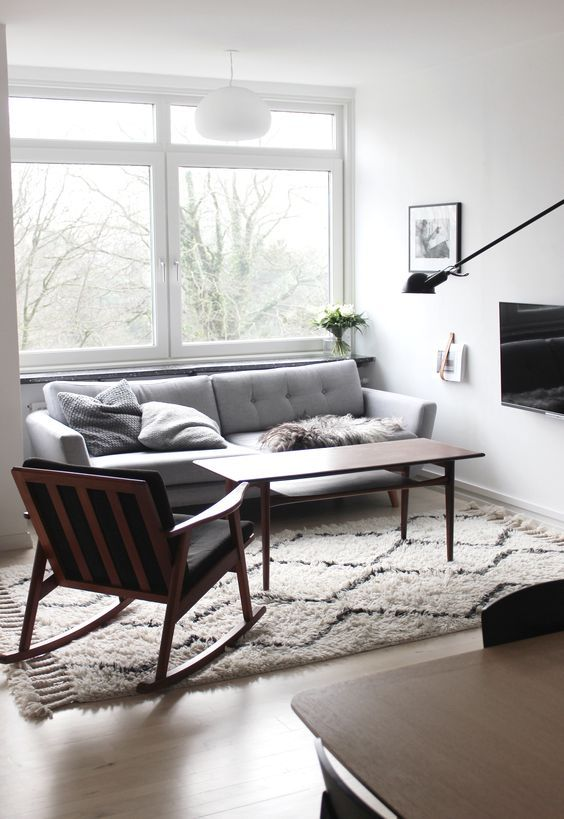 Mid-century sitting room in Johanne's lovely Aalborg apartment in monochrome