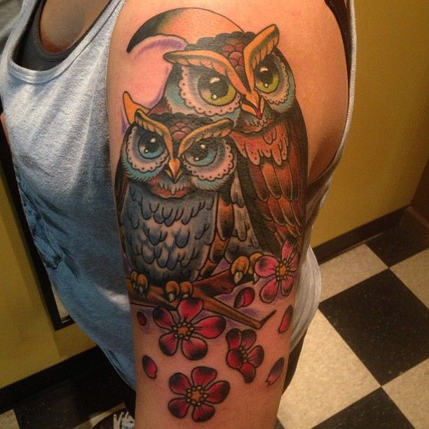 Awesome Owl Tattoo Design on Sleeve for Women | Cool Tattoo Designs