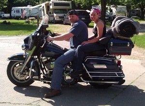 motocycle camping, biker babe
