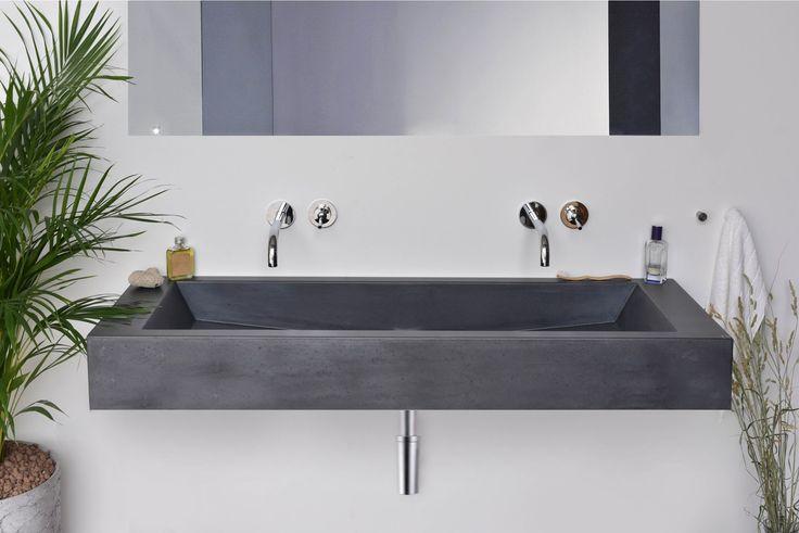 Concrete washbasin Gravelli Slant 05 Double in anthracite variant.