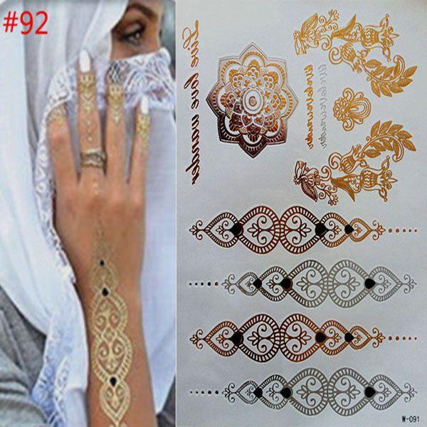 Sementara tato emas kalung gelang produk tato logam tato temporer wanita tattoo flash logam dari palsu emas dan silve