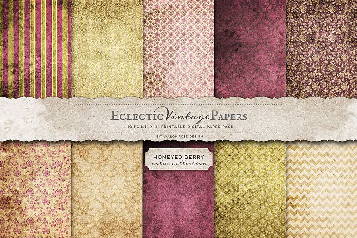 Vintage Printable Papers - Honeyed Berry from DesignBundles.net