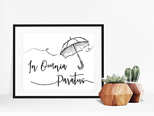 """#homesweethome #designinspo True #Gilmore Girls fans will recognize this whimsical tribute to the Life and Death brigade umbrella jump. """"In Omnia Paratus,"""" or """"R..."""