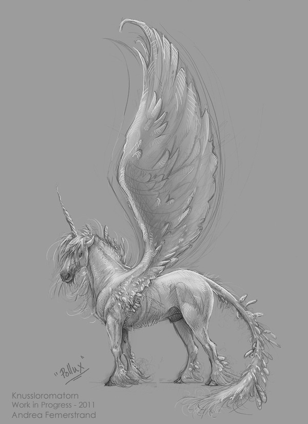 Art by Andrea Femerstrand. --Uni-Pegasus.  Love this.
