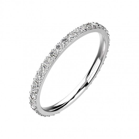 Gemmyo : Bague Faubourg - Or blanc 18 cts, Diamant