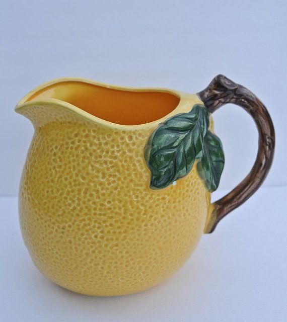Vintage Ceramic Lemon Pitcher Water Pitcher Juice Pitcher Kitchen Decor Kitchenware Retro Kitchen
