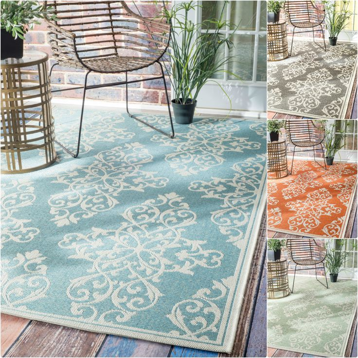 Nuloom Modern Floral Outdoor Indoor Porch Rug 7 10 X 11