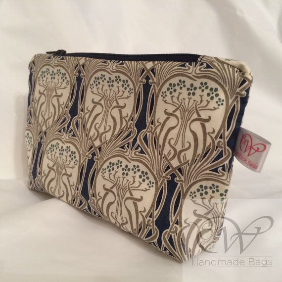 Art Nouveau Style Fabric Make Up Bag with by StWHandmadeBags