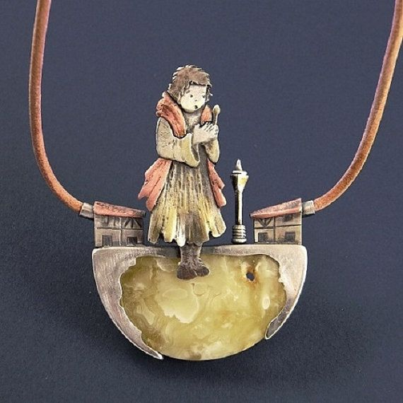 Magical necklace with amber - The Litle Match Girl. Handcrafted with sterling silver and cropp. The silver is oxidated, dull, partly