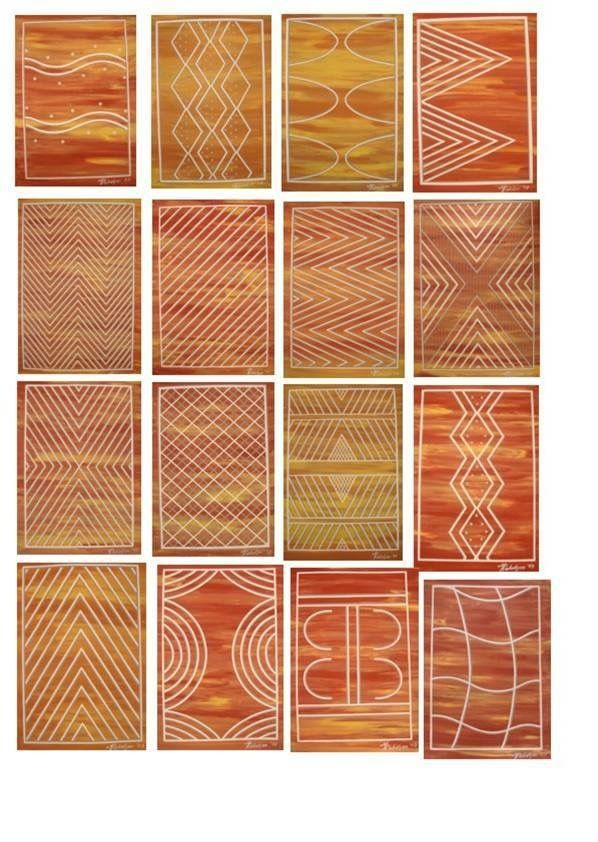 Traditional Wurundjeri symbols, from South Central Victoria (painted by Mandy Nicholson, 2003)