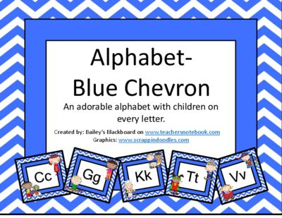 Alphabet-+Blue+Chevron+from+Bailey's+Blackboard+on+TeachersNotebook.com+-++(28+pages)++-+A+cute+display+for+your+room,+this+uppercase/lowercase+alphabet+has+a+blue+chevron+background+with+adorable+kids+on+every+letter+card.