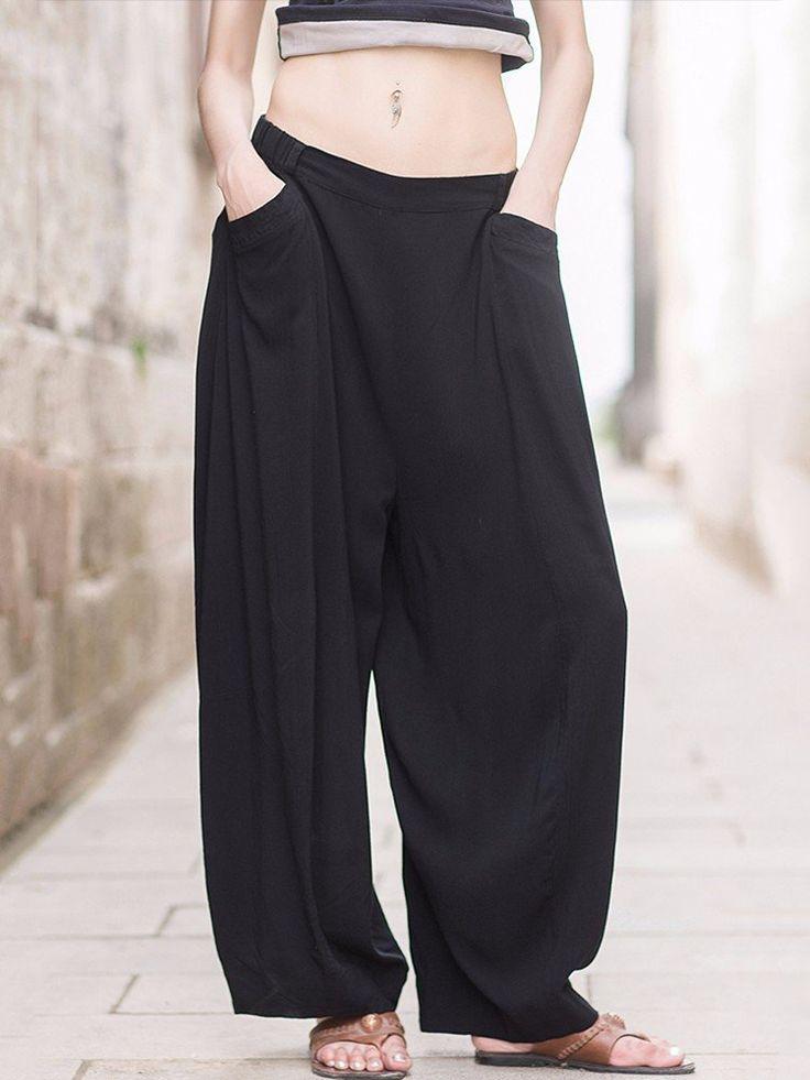Casual Women Ethnic Style Elastic Waist Solid Pocket Harem Pants