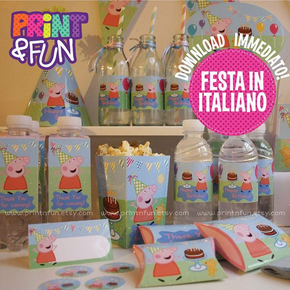 Peppa Pig  ITALIAN No Personalized Birthday Party by Printnfun, €9.00