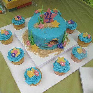 Dora Mermaid Cake & cupcakes    @Jannene Allwood