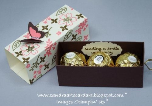 Today I have made these very pretty Treat Boxes with ribbon pull and made designer paper using Love and Affection Stamp Set a new Stampin' Up product.