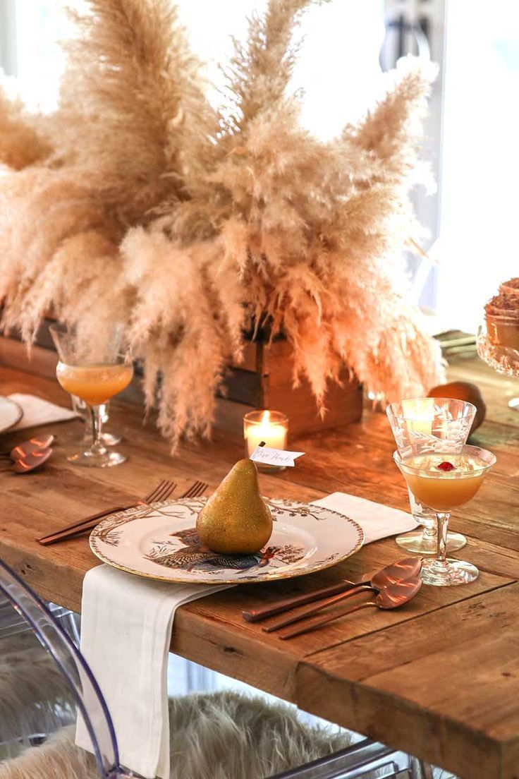 A Golden Thanksgiving Table With Foraged Centerpiece