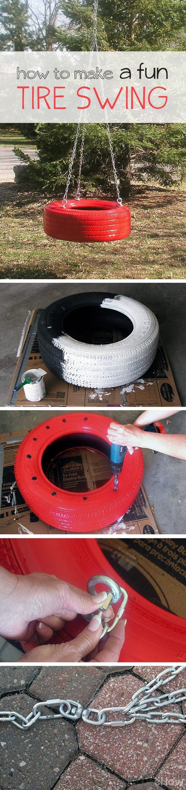 DIY your very own old-fashioned tire swing. This version of the timeless classic features a tire supported horizontally by three points of attachment and a swivel point that allows movement in multiple directions. Spend an afternoon assembling a tire swing and guarantee years of enjoyment for the children in your life. DIY instructions here: http://www.ehow.com/how_5264076_make-fun-tire-swing.html?utm_source=pinterest.com&utm_medium=referral&utm_content=inline&utm_campaign=fanpage