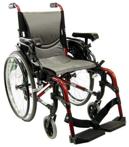 "Wheelchairs Karman S-ERGO 305 Lightweight Ergonomic Wheelchair S-Ergo305Q18RS, 29 lbs., Quick Release Wheels, Frame Rose Red, Seat Size 18""W X 17""D, Factory Adjustable Seat Height (Default 19"" Floor To Seat) -- This is an Amazon Associate's Pin. Locate the item on Amazon website simply by clicking the image."