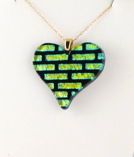 Heart Patterned Fused Dichroic Glass Heart Pendant