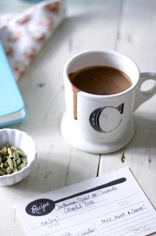 Cardamom Spiced Hot Chocolate made with all real ingredients for a rich hot chocolate drink. Slightly sweetened and refined sugar free.