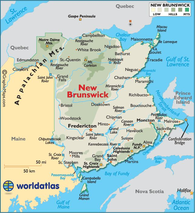 Where Is New Brunswick Canada On the Map | World Map > North America > Canada > New Brunswick > LARGE COLOR MAP