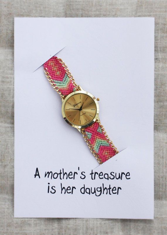 Hippie Band Friendship Gold Case Mother's Treasure Is Her Daughter Card Watch #Unbranded #Dress