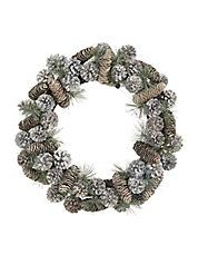 Snowfall Metallic Pine Cone Wreath