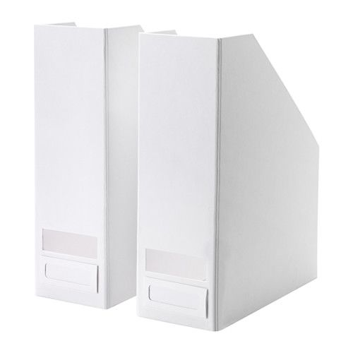 IKEA - TJENA, Magazine file, white, -, , Easy to pull out and lift as the magazine file has a cut-out handle.The included label holder helps you to create an overview to quickly find your things.