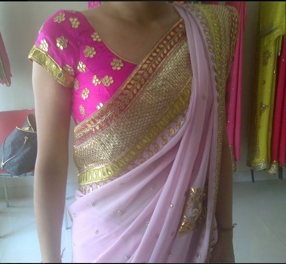 e0417a1ebb Gota Patti Blouse- Plain-ish Sari. Works Well. | Indian wear ideas in 2019  | Saree, Pink saree, Indian blouse