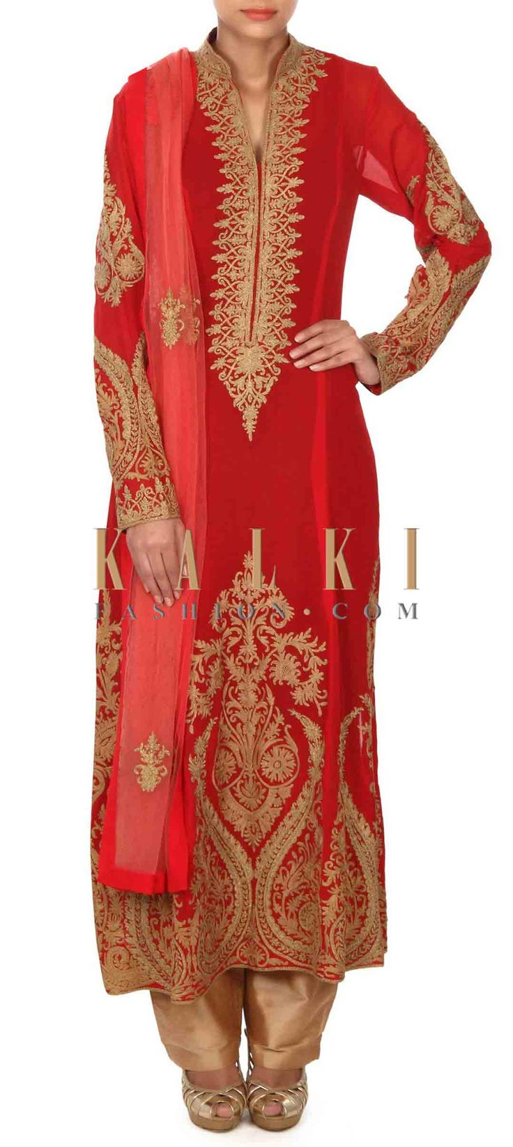 Buy this Red A line suit adorn in zari embroidery only on Kalki