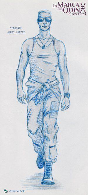 Arte conceptual del teniente de la USAF James Curtis, uno de los personajes de @lamarcadeodin