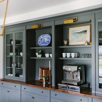 Dark Gray Built In Dining Room Built Ins with Brass Picture Lights