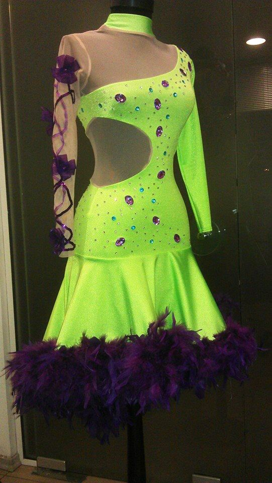 Green Latin Dress- Feathers and Swarovsky Crystals