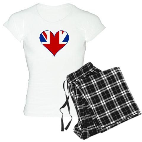 'Heart of the UK' Women's Light Pajamas    http://www.cafepress.com/britshop.623406703    Get your beauty rest in style with these comfy women's pajamas. These cozy pj's come with your choice of flannel bottom and choice of black or white tee top.    - Unisex flannel bottom is 100% cotton (4 oz) & has no fly and no pockets  - Choose a pink/black or white/black plaid bottom  - T-shirt is 100% cotton (4.5 oz) with contoured, longer length to fit curves  - Choose a white or black tee top $32.99