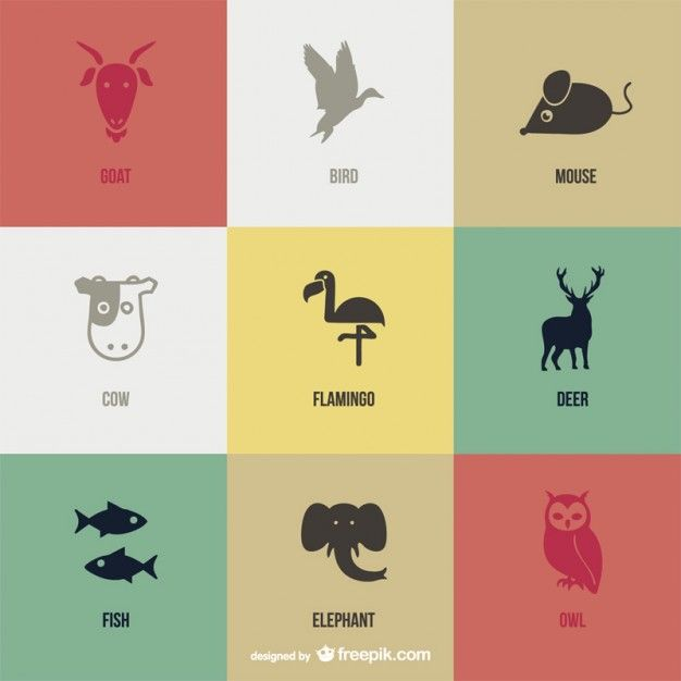 Vector animal pictograms set Vector | Free Vector Download In .AI, .EPS, .SVG Format