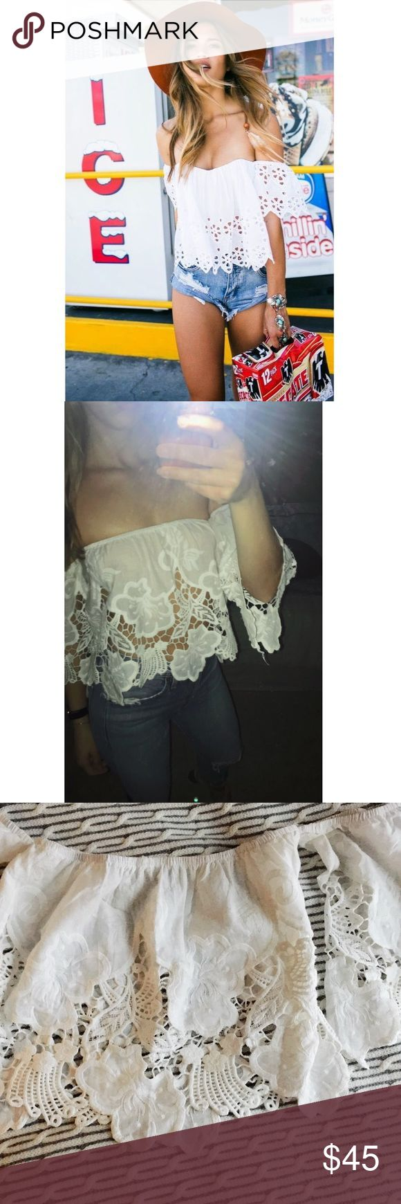Runway Scout White lace off shoulder top Small Gorgeous white off the shoulder top with lacing detail throughout. Semi-sheer.  Purchased on Runway Scout (Australian brand) sold out online.  Fits Small true to size Reminds me of For Love & Lemons Runway Scout Tops