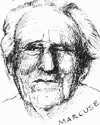 Herbert Marcuse - sketch taken from Hegel Made Easy of old man with rather withered features