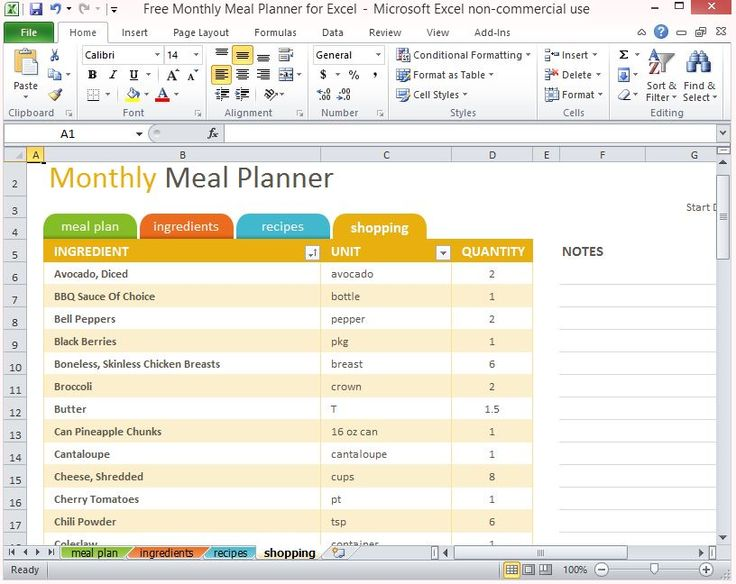 Luxury The Free Monthly Meal Planner for Excel is a helpful tool professionally designed to organize