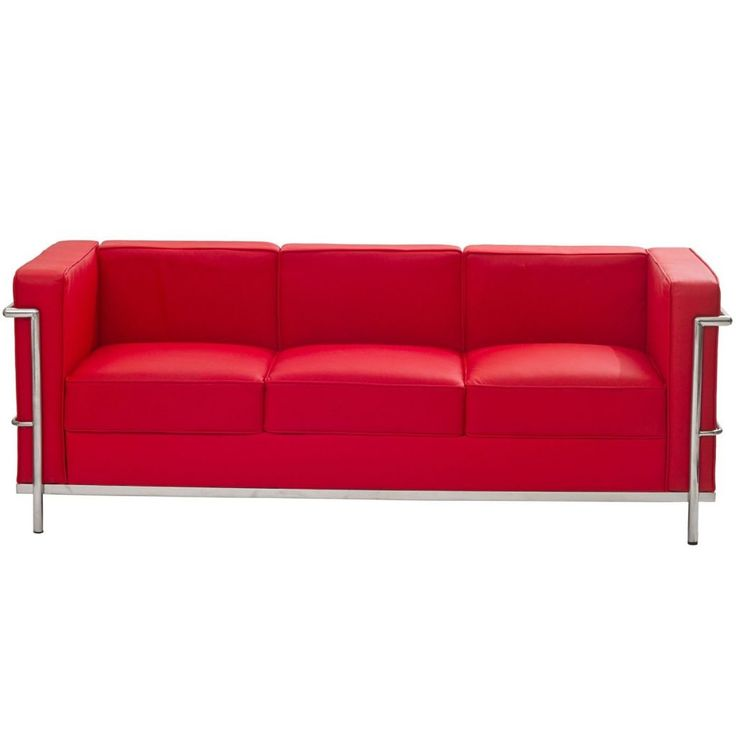 Living Room Furniture Modern Red Top Grain Chesterfield Sofa Mixed Chromed  Metal Frame Red Leather Couches