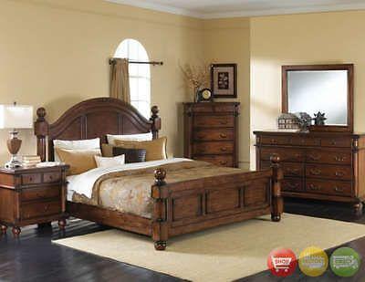 Bedroom Sets 20480 Augusta Traditional King Panel Bed 5 Piece Bedroom Furniture Set Dark Walnut