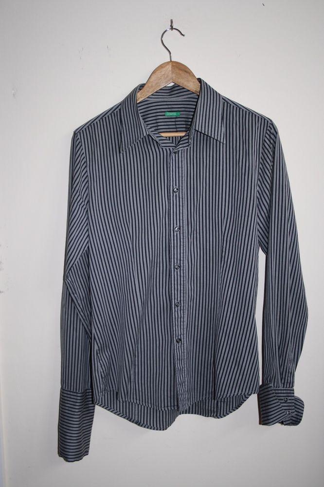 b4a819dea Benetton Fashion Designer Men s Shirt Sleeve Grey Stripes Cotton Blend Size  L