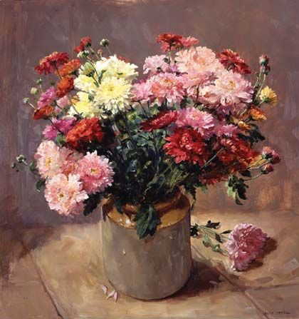 Detailed image of our Chrysanthemums. Print by Anne Cotterill