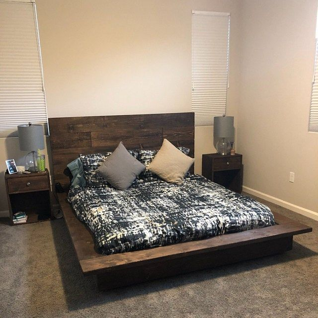 Floating Wood Platform Bed Frame With Lighted Etsy In 2020 Wood Platform Bed Frame Wood Platform Bed Floating Bed Frame